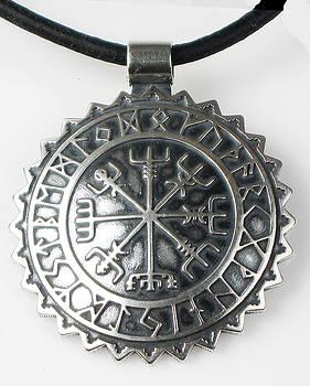 Viking Celtic Vegvisir Compass with Rune Calendar  - Sterling Silver Key Ring or Pendant by Vagabond Folk Art - Virginia Vivier