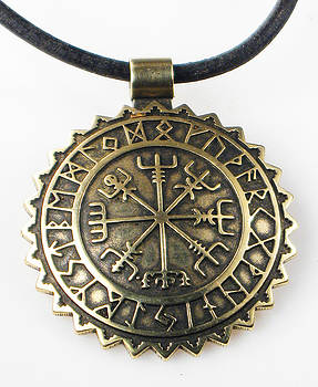 Viking Vegvisir Compass with Rune Calendar - Bronze Pendant by Vagabond Folk Art - Virginia Vivier