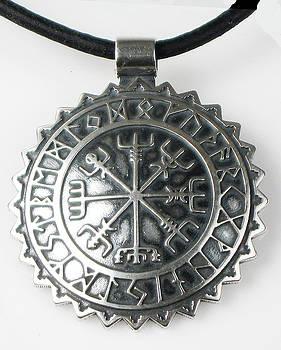Viking Vegvisir Rune Calendar Sterling Silver Pendant by Virginia Vivier