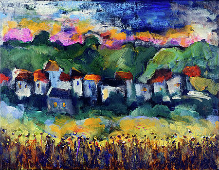 Village at sunset by Maxim Komissarchik