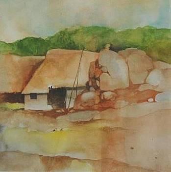 Village Huts on Rockside by Prakash Sree S N