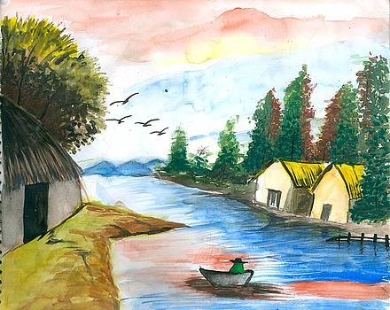 Village in the lap of nature by Tanmay Singh