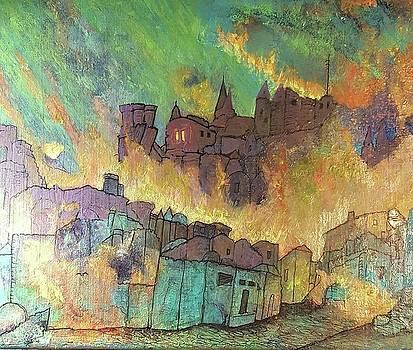 Village on fire by Cynthia Silverman