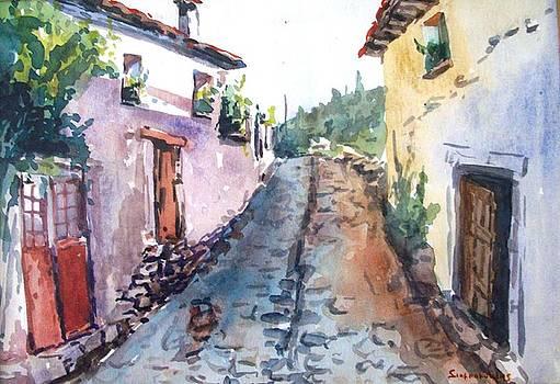 Village street by George Siaba