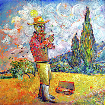 Vincent Van Gogh Painting Cypresses by Andrew Osta