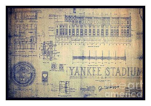 Peter Gumaer Ogden - Vintage 1920s Art Deco Yankee Stadium Blueprint Autographed by Joe Dimaggio