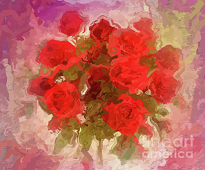 Vintage Abstract of Beautiful Red Roses by Clive Littin