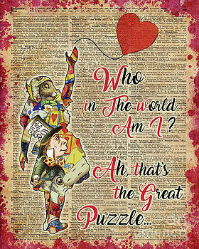 Vintage Alice in Wonderland Collage Who In The World Am I Quote by Anna W