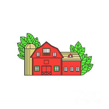 Vintage American Barn Leaves Mono Line by Aloysius Patrimonio
