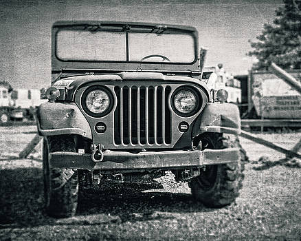 Vintage Army Jeep in Black and White by Emily Kay