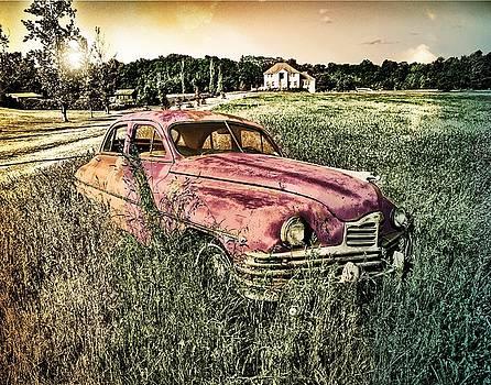 Vintage Auto in a Field by Digital Art Cafe
