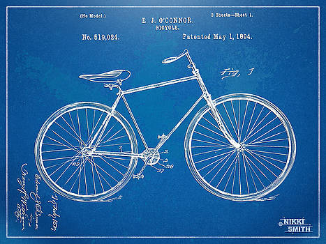 Vintage Bicycle Patent Artwork 1894 by Nikki Marie Smith