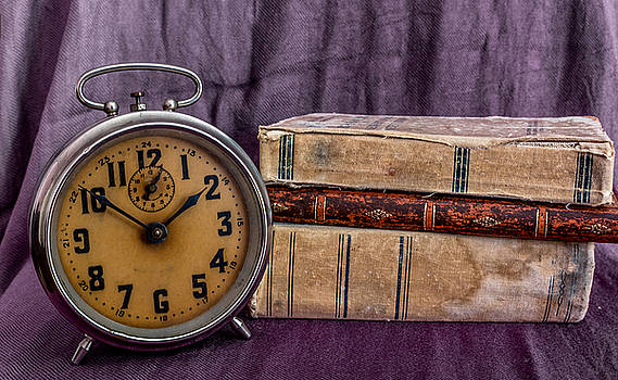Vintage books and clock by Julian Popov