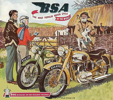 Vintage British BSA Motorcycle Advert by Marlene Watson