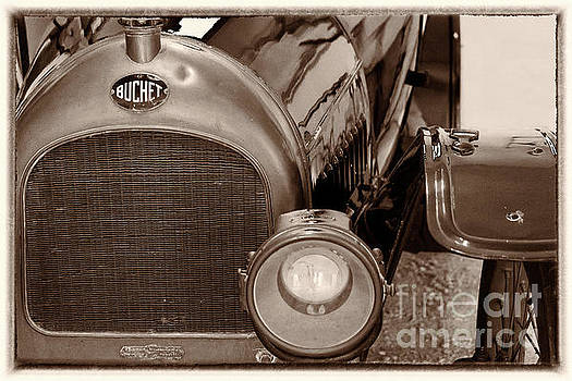 Vintage Buchet auto, hood and lamp, framed, sepia by Vyacheslav Isaev