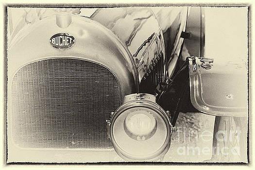 Vintage Buchet auto, hood and lamp, framed by Vyacheslav Isaev