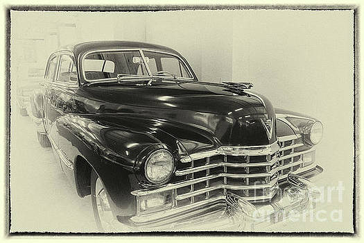 Vintage Cadillac 62, front in sepia, framed by Vyacheslav Isaev