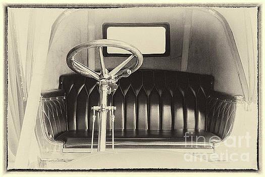 Vintage car interior in sepia, framed by Vyacheslav Isaev