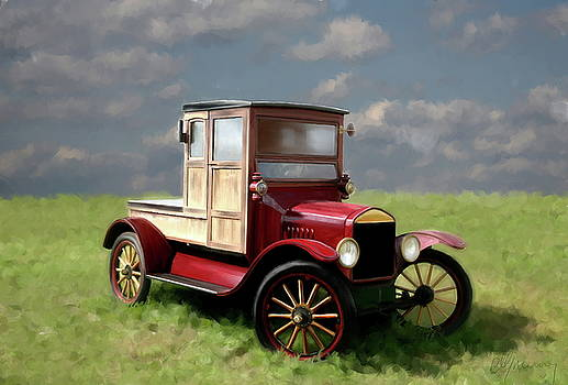 Vintage Car Painting by Michael Greenaway