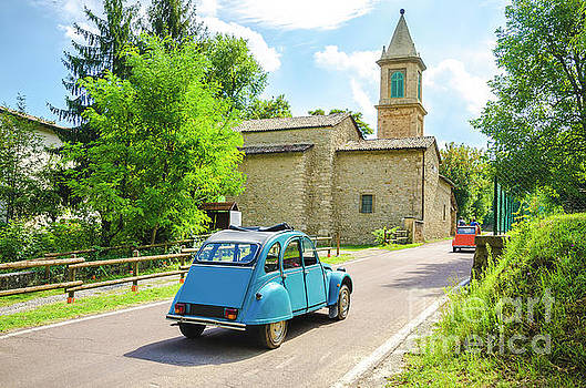 Vintage Car Travel Italy Countryside Church by Luca Lorenzelli