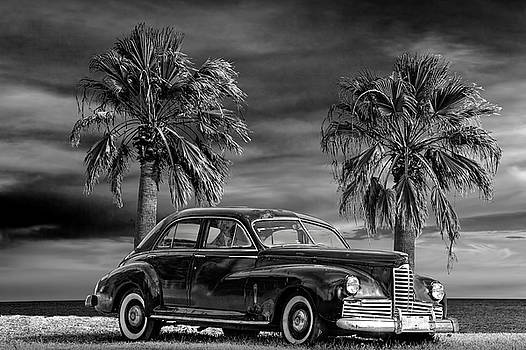 Randall Nyhof - Vintage Classic Automobile in Black and White with Palm Trees