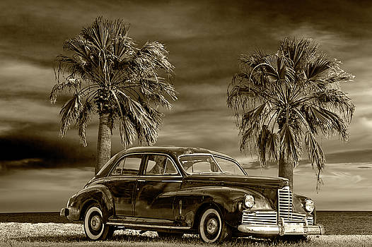 Randall Nyhof - Vintage Classic Automobile in Sepia Tone with Palm Trees