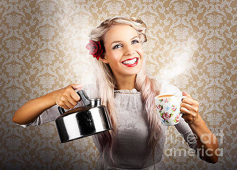 Vintage Coffee Woman Holding Hot Tea Pot by Jorgo Photography - Wall Art Gallery