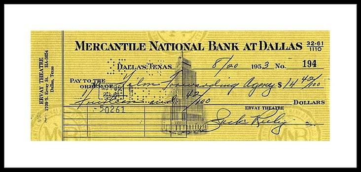 Peter Gumaer Ogden - Vintage Dallas Bank Check Signed by Jack Ruby Killer of Lee Harvey Oswald
