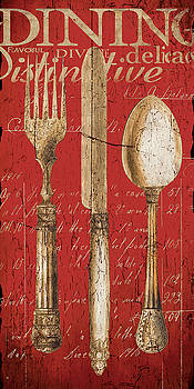 Vintage Dining Utensils in Red by Grace Pullen