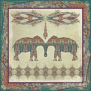 Vintage Elephants Kashmir Paisley Shawl Pattern Artwork by Audrey Jeanne Roberts