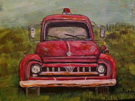 Vintage  Ford Fire Truck by Belinda Lawson
