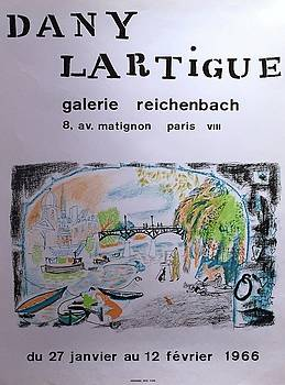 Vintage French Exhibition Poster 1966 Galerie Reichenbach by Dany Lartigue