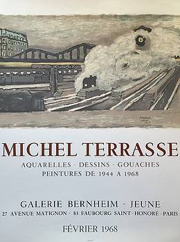 Vintage French Exhibition Poster Michel Terrasse 1968 by Michel Terrasse