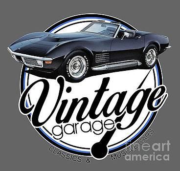 Vintage Garage Black Corvette by Paul Kuras