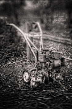 Vintage Garden Rototiller Near Split Rail Fence in Black and Whi by YoPedro