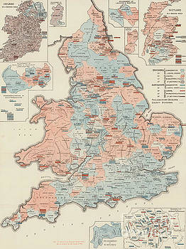 English School - Vintage Graphic Parliamentary Map
