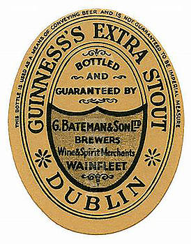 Vintage Guinness Beer Label - Circa 1969 by Marlene Watson