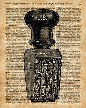 Vintage Handstamp Illustation Over Old Book Page by Anna W