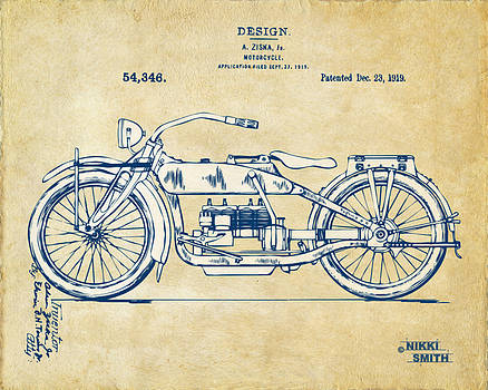 Nikki Smith - Vintage Harley-Davidson Motorcycle 1919 Patent Artwork