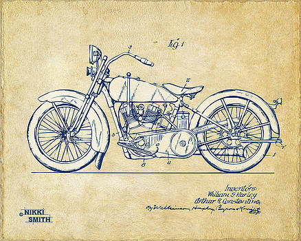 Nikki Smith - Vintage Harley-Davidson Motorcycle 1928 Patent Artwork