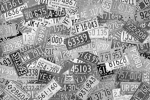 Vintage License Plates of the USA Black and White Retro Art by Design Turnpike