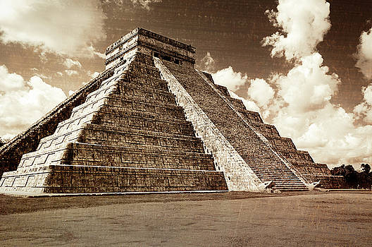 Vintage look of Mayan pyramid in Chicken Itza by Daniela Constantinescu