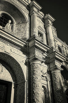 Vintage look of the facade detail of La Merced Church in Antigua by Daniela Constantinescu