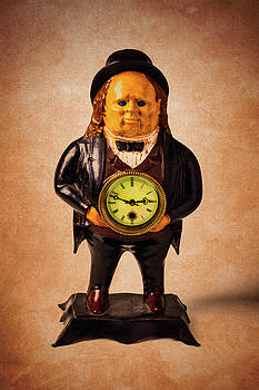 Vintage Man Holding Clock by Garry Gay