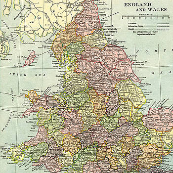 Vintage Map of England and Wales  by Digital Art Cafe