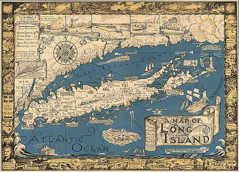 Vintage Map of Long Island by James Kirkikis