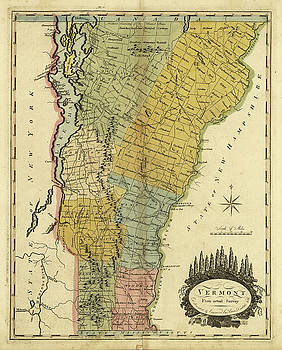 Vintage Map Of Vermont 1814 By Cartographyassociates