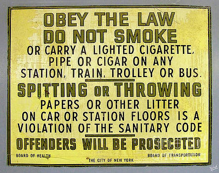 Vintage No Smoking or Littering New York Subway Sign by Nishanth Gopinathan
