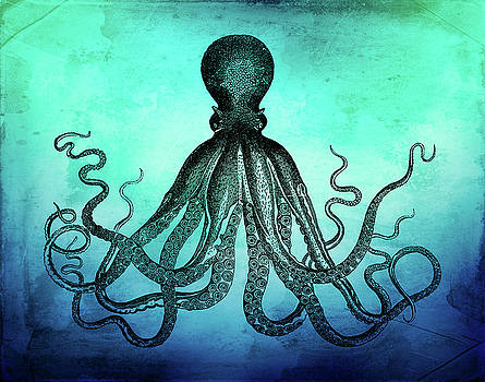 Vintage Octopus on Blue Green Watercolor by Peggy Collins