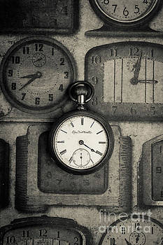 Vintage Pocket Watch over Old Clocks by Edward Fielding